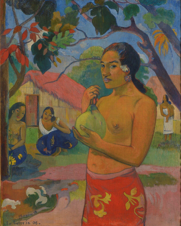 Paul-Gauguin-Eu-haere-ia-oe-Ou-vas-tu-La-Femme-au-fruit-Tahiti-1893
