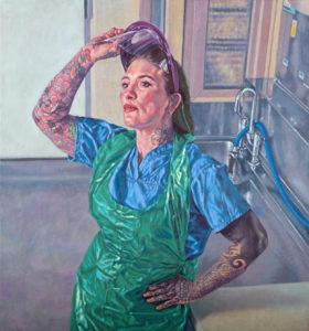 KATIE TOMKINS - Mortuary & Post Mortem Services Manager at West Hertfordshire NHS Trust (2020) copyright Roxana Halls. Oil on linen.