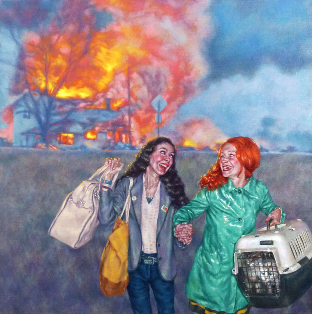 Laughing While Leaving (2017) Roxana Halls. Oil on linen. Collection of Susan Dunn.